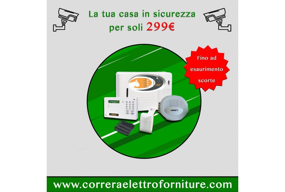 KIT ANTIFURTO C/CENTR.5 ZONE+COMB.GSM+INFR.+SIR.di