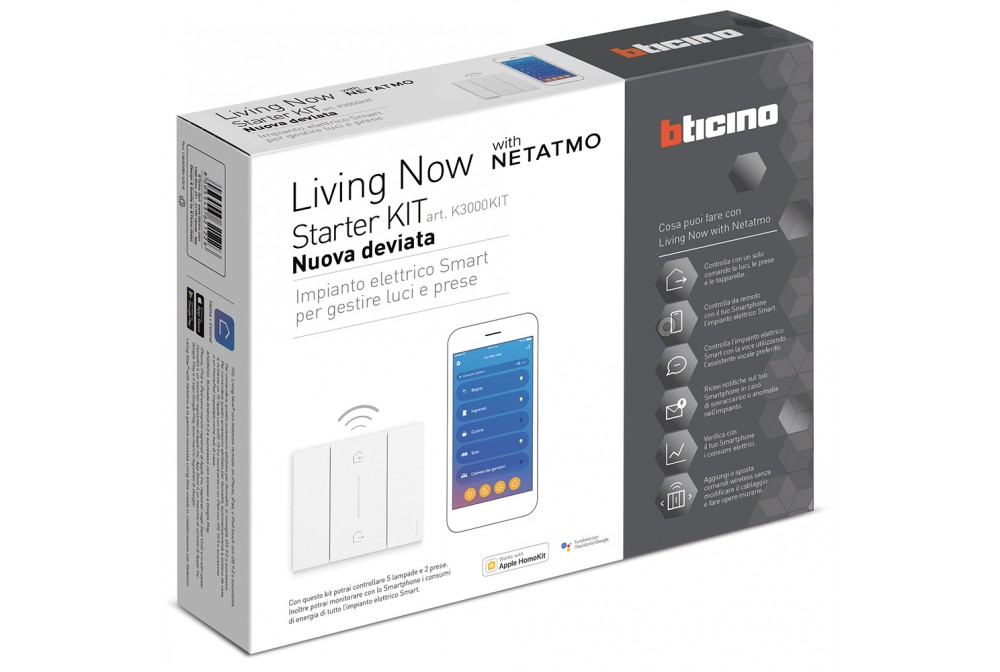 bticino K3000KIT living now luci e prese connesse K4500C K4003C K4531C F20T60A